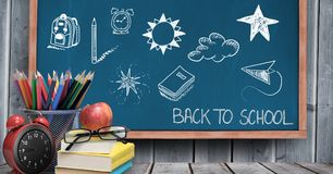 Back to school Education drawing on blackboard. Digital composite of Back to school Education drawing on blackboard royalty free stock photos