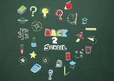 Back to school Education drawing on blackboard. Digital composite of Back to school Education drawing on blackboard royalty free stock photos