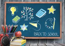 Back to school education drawings on blackboard for school. Digital composite of Back to school education drawings on blackboard for school stock images