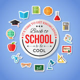 Back to school and education flat icons with computer, open book, desk, globe. Paper stickers elements. Stock Image