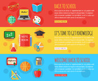 Back to school and education horizontal banners Royalty Free Stock Photos