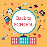 Back to School with education icons concept vector. Education icons and back to school concept, colorful vector Stock Images
