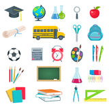 Back to school education icons set. Set of vector school supplies textbooks globe notebook pen brush paint line bulb school board schoolbag school bus in the Royalty Free Stock Photo