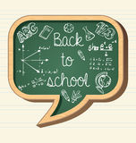 Back to school education icons social bubble chalk. Back to school wooden chalkboard social media speech bubble icon, education elements illustration. Vector Royalty Free Stock Images