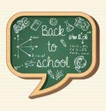 Back to school education icons social bubble chalk. Back to school wooden chalkboard social media speech bubble icon, education elements illustration. Vector Stock Illustration