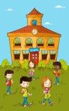 Back to school education kids cartoon. vector illustration