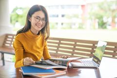 Back to school education knowledge college university concept, Young people being used computer and tablet, Education and technolo royalty free stock photography