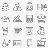 Back to school and education line icons Stock Photo