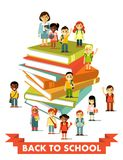 Back to school education people concept in flat style Stock Images