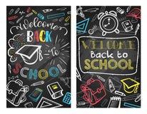 Back to School vector blackboard education poster royalty free illustration