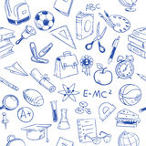 Back to school, education vector doodles, pencil drawing seamless pattern Stock Photos