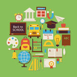 Back to School and Education Vector Flat Design Circle Shaped Ob Royalty Free Stock Images