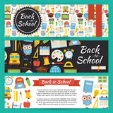 Back to School and Education Vector Template Banners Set in Mode Royalty Free Stock Photography