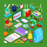 Back to School Educational Concept. Isometric Education Elements with Computer and Science Objects. Vector illustration royalty free illustration