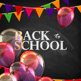 Back to school. educational illustration with blackboard texture Stock Images