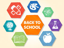 Back to school with educational symbols, grunge drawn hexagons l Stock Photos