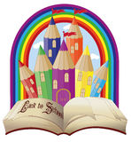 Back to school. Elegant magical fairy tale castle Stock Photo