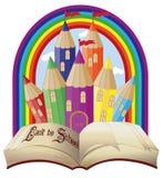 Back to school. Elegant magical fairy tale castle. Vector illustration Stock Photo
