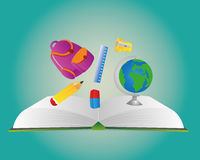 Back to school element. Let us go to school with cool stuff stock illustration