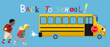 Back to school. Elementary age boy and girl running after a school bus, text `Back to school` on top, EPS 8 vector illustration Stock Photo