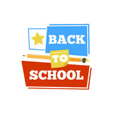 Back to school emblem with accessories. Vector illustration. Stock Photos