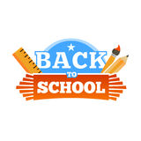 Back to school emblem with accessories. Vector illustration. Stock Images