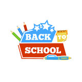 Back to school emblem with accessories. Vector illustration. Royalty Free Stock Photo