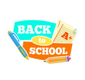 Back to school emblem with accessories. Vector illustration. Royalty Free Stock Photography