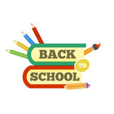Back to school emblem with book and accessories. Bright  illustration. Royalty Free Stock Image