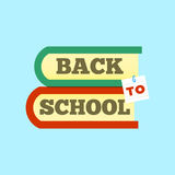 Back to school emblem with book. Bright  illustration. Royalty Free Stock Photography
