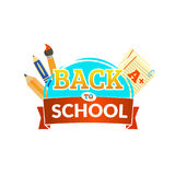 Back to school emblem with ribbon and accessories. Vector illustration. Royalty Free Stock Photo