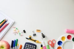 Back to school equipment object supplies on background. Stock Images