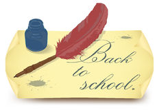 Back to school with feather in ink bottle Royalty Free Stock Image