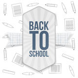 Back to School festive Badge with Ribbon. Vector Illustration Royalty Free Stock Images
