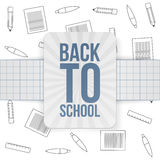 Back to School festive Emblem on paper Ribbon. Vector Illustration Stock Photo