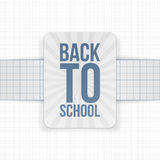 Back to School festive Label on paper Ribbon Royalty Free Stock Image