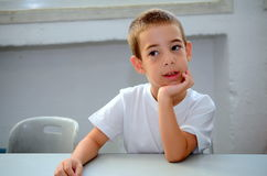 Back to school: a first-grader on the first day of school Royalty Free Stock Images
