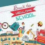 Back to school flat cartoon design modern vector illustration Stock Photography