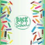 Back to School Flat colored pencils on white and Stock Image