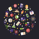 Back to school flat design icons circle composition. Back to school circle composition of vector school, college flat design icons and infographics elements Stock Images