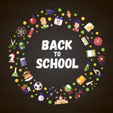 Back to school flat design icons circle composition. Back to school circle composition of vector school, college flat design icons and infographics elements Royalty Free Stock Photos