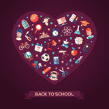 Back to school flat design icons heart composition. Back to school heart composition of vector school, college flat design icons and infographics elements Royalty Free Stock Photo
