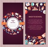 Back to school flat design icons postcard template. Back to school postcard template of vector school, college flat design icons and infographics elements Stock Photography