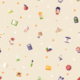 Back to school flat design icons seamless pattern. Back to school seamless pattern of vector school, college flat design icons and infographics elements Royalty Free Stock Photos