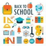 Back to school Flat design icons set isolated on white Part 1 Stock Photos