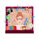Back to school flat design modern illustration background with education icon set. School supplies : schoolbook, notebook, royalty free illustration