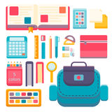 Back to school flat design modern vector illustration background with education icon set.. School supplies : schoolbook, notebook, pen, pencil, paints Royalty Free Stock Photo