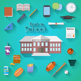 Back to School Flat design modern vector illustration, school building, pen, pensil, food, sport items, diploma and graduation cap Stock Images
