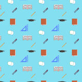 Back to School Flat design modern vector illustration, seamless pattern, pen, pensil, graduation cap icons Royalty Free Stock Photo