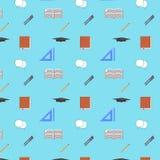 Back to School Flat design modern vector illustration, seamless pattern, pen, pensil, graduation cap icons Royalty Free Stock Photo